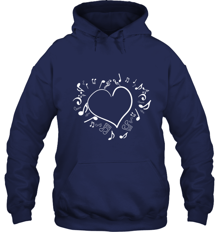Floating Notes Heart White - Gildan Adult Heavy Blend™ Hoodie