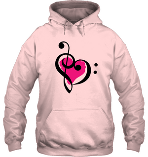 Treble Bass Pink Heart - Gildan Adult Heavy Blend™ Hoodie