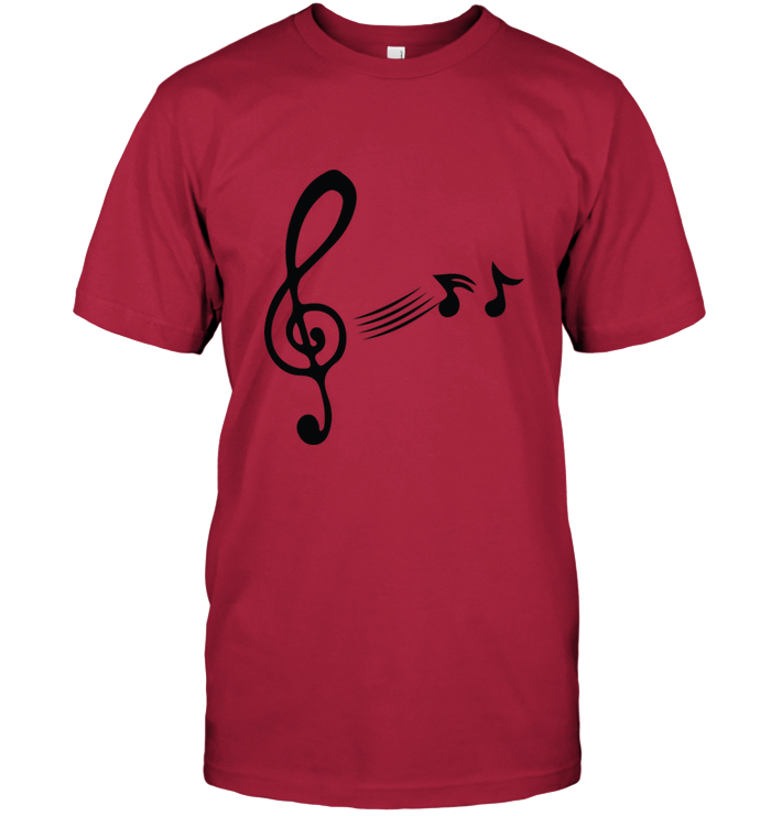 Treble Clef with floating Notes - Hanes Adult Tagless® T-Shirt