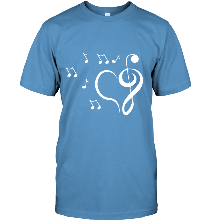Musical heart with floating notes - Hanes Adult Tagless® T-Shirt