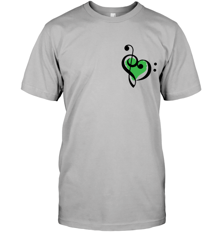 Treble Bass Green Heart (Pocket Size) - Hanes Adult Tagless® T-Shirt
