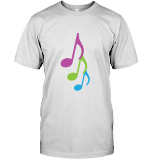 Three colorful musical notes - Hanes Adult Tagless® T-Shirt