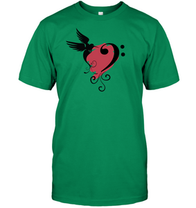 Bird and Musical Heart Red  - Hanes Adult Tagless® T-Shirt