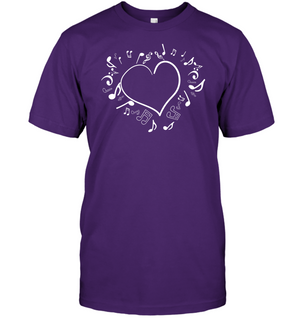 Floating Notes Heart White - Hanes Adult Tagless® T-Shirt