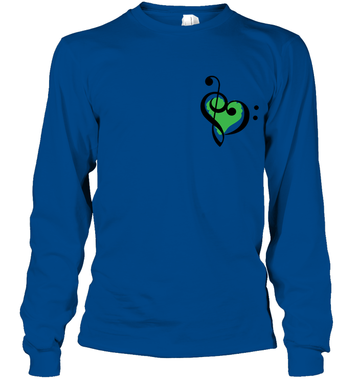 Treble Bass Green Heart (Pocket Size) - Gildan Adult Classic Long Sleeve T-Shirt