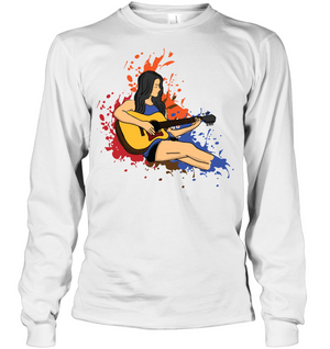 Girl Playing Guitar Splash - Gildan Adult Classic Long Sleeve T-Shirt