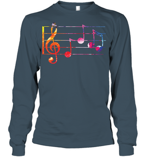 Colorful Notes n Staff - Gildan Adult Classic Long Sleeve T-Shirt