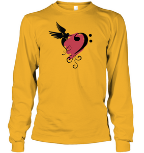 Bird and Musical Heart Red - Gildan Adult Classic Long Sleeve T-Shirt