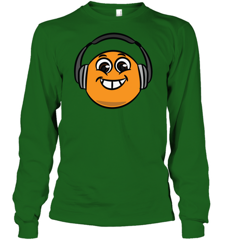 Eager Orange with Headphone - Gildan Adult Classic Long Sleeve T-Shirt