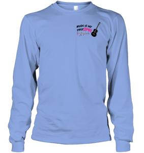 Music is my Philo-Sophie Colorful + Guitar (Pocket Size) - Gildan Adult Classic Long Sleeve T-Shirt