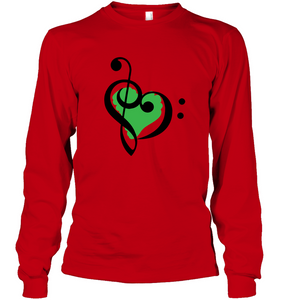 Treble Bass Green Heart - Gildan Adult Classic Long Sleeve T-Shirt