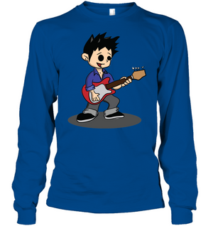 Boy Playing Guitar - Gildan Adult Classic Long Sleeve T-Shirt