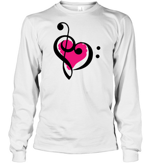 Treble Bass Pink Heart - Gildan Adult Classic Long Sleeve T-Shirt