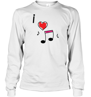 I Love Music Hearts and Fun - Gildan Adult Classic Long Sleeve T-Shirt