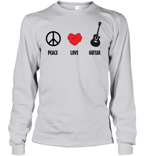 Peace Love Guitar - Gildan Adult Classic Long Sleeve T-Shirt