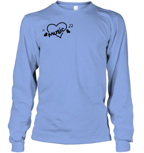 Music Hearts and Notes (Pocket Size) - Gildan Adult Classic Long Sleeve T-Shirt
