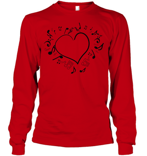 Floating Notes Heart Black - Gildan Adult Classic Long Sleeve T-Shirt