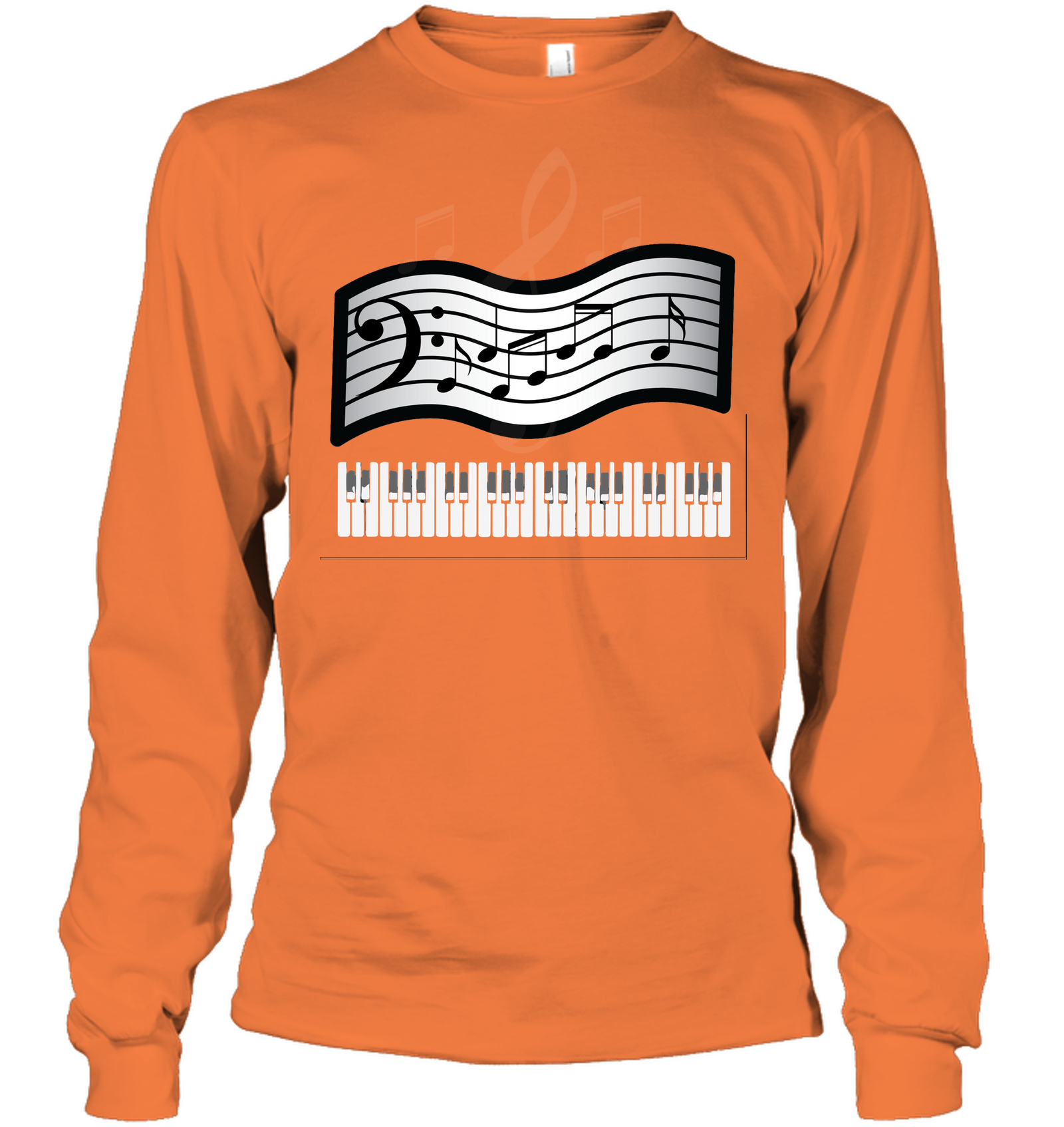 Keyboard and Musical Notes - Gildan Adult Classic Long Sleeve T-Shirt