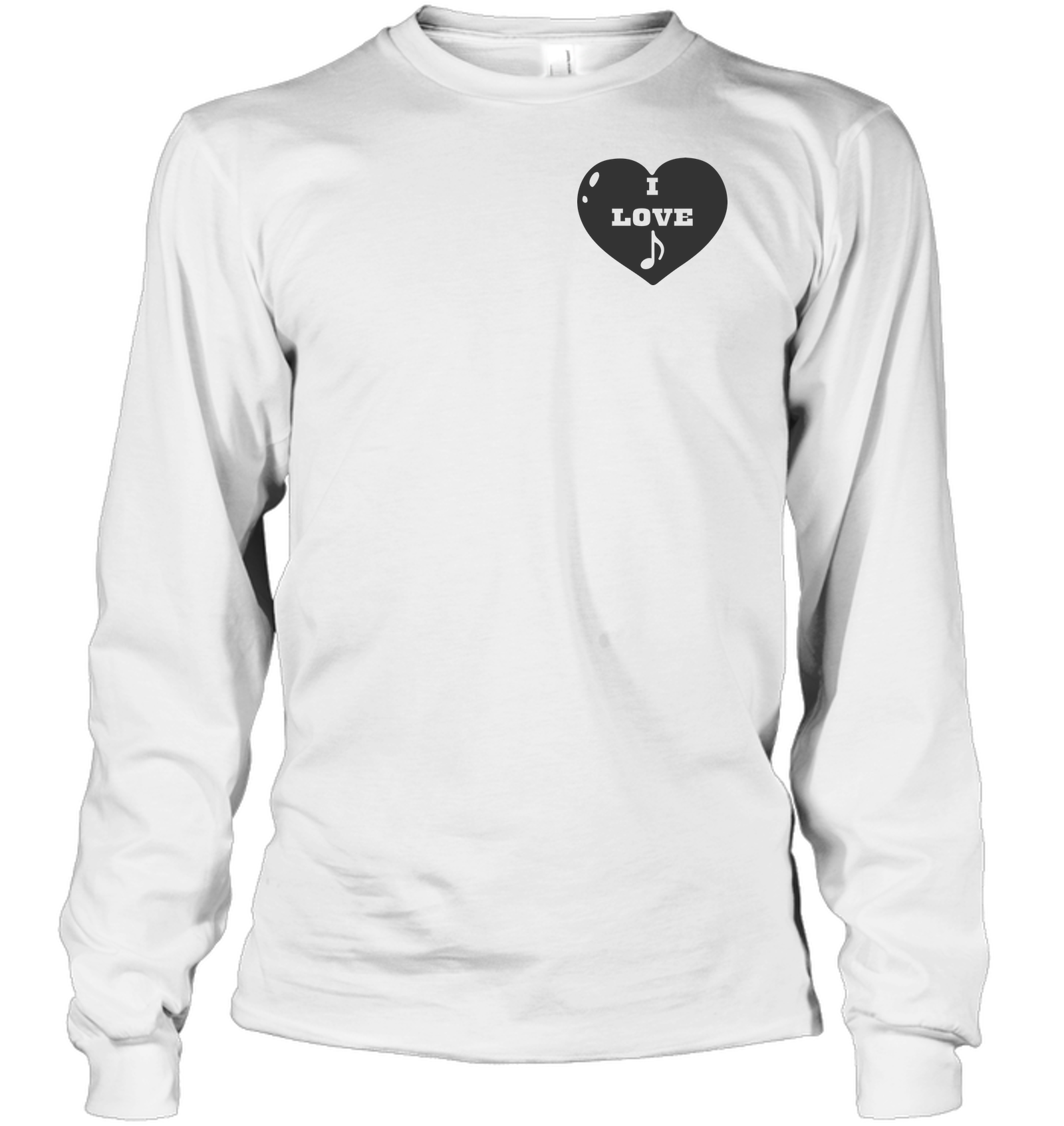 I Love Note Heart (Pocket Size) - Gildan Adult Classic Long Sleeve T-Shirt