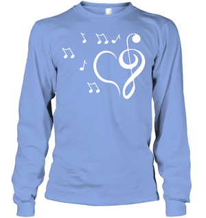 Musical heart with floating notes - Gildan Adult Classic Long Sleeve T-Shirt