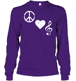 Peace Heart Musical Clef - Gildan Adult Classic Long Sleeve T-Shirt