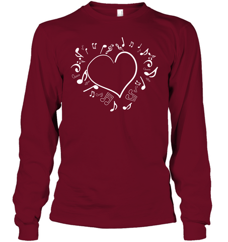 Floating Notes Heart White - Gildan Adult Classic Long Sleeve T-Shirt
