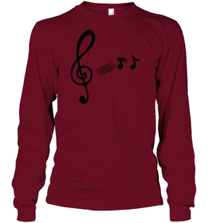 Treble Clef with floating Notes - Gildan Adult Classic Long Sleeve T-Shirt