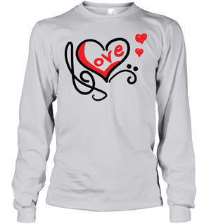 Love Music Heart Red  - Gildan Adult Classic Long Sleeve T-Shirt