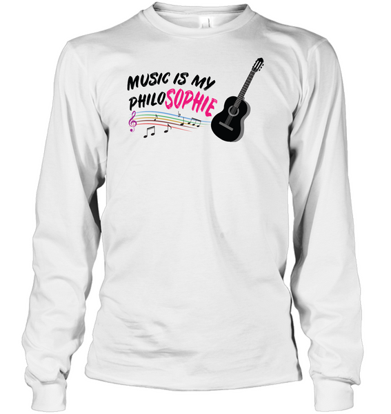 Music is my Philo-Sophie Colorful + Guitar - Gildan Adult Classic Long Sleeve T-Shirt