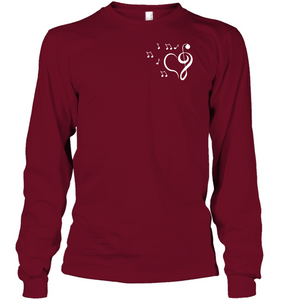 Musical heart with floating notes (Pocket Size)  - Gildan Adult Classic Long Sleeve T-Shirt
