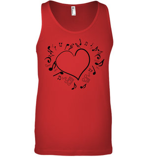 Floating Notes Heart Black - Bella + Canvas Unisex Jersey Tank