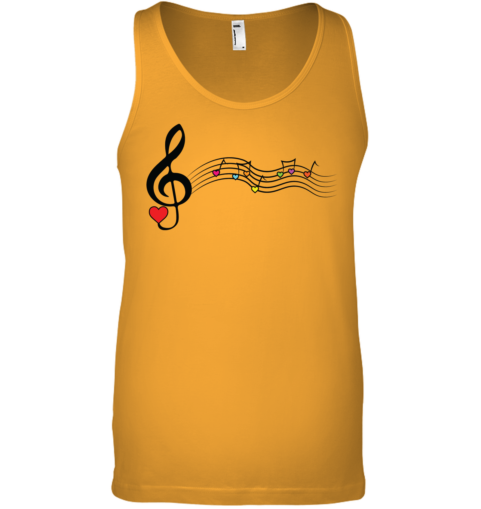 Musical Waves, Heart Notes and Colors - Bella + Canvas Unisex Jersey Tank