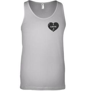 I Love Note Heart (Pocket Size) - Bella + Canvas Unisex Jersey Tank