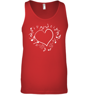 Floating Notes Heart White - Bella + Canvas Unisex Jersey Tank