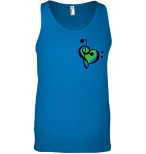 Treble Bass Green Heart (Pocket Size) - Bella + Canvas Unisex Jersey Tank