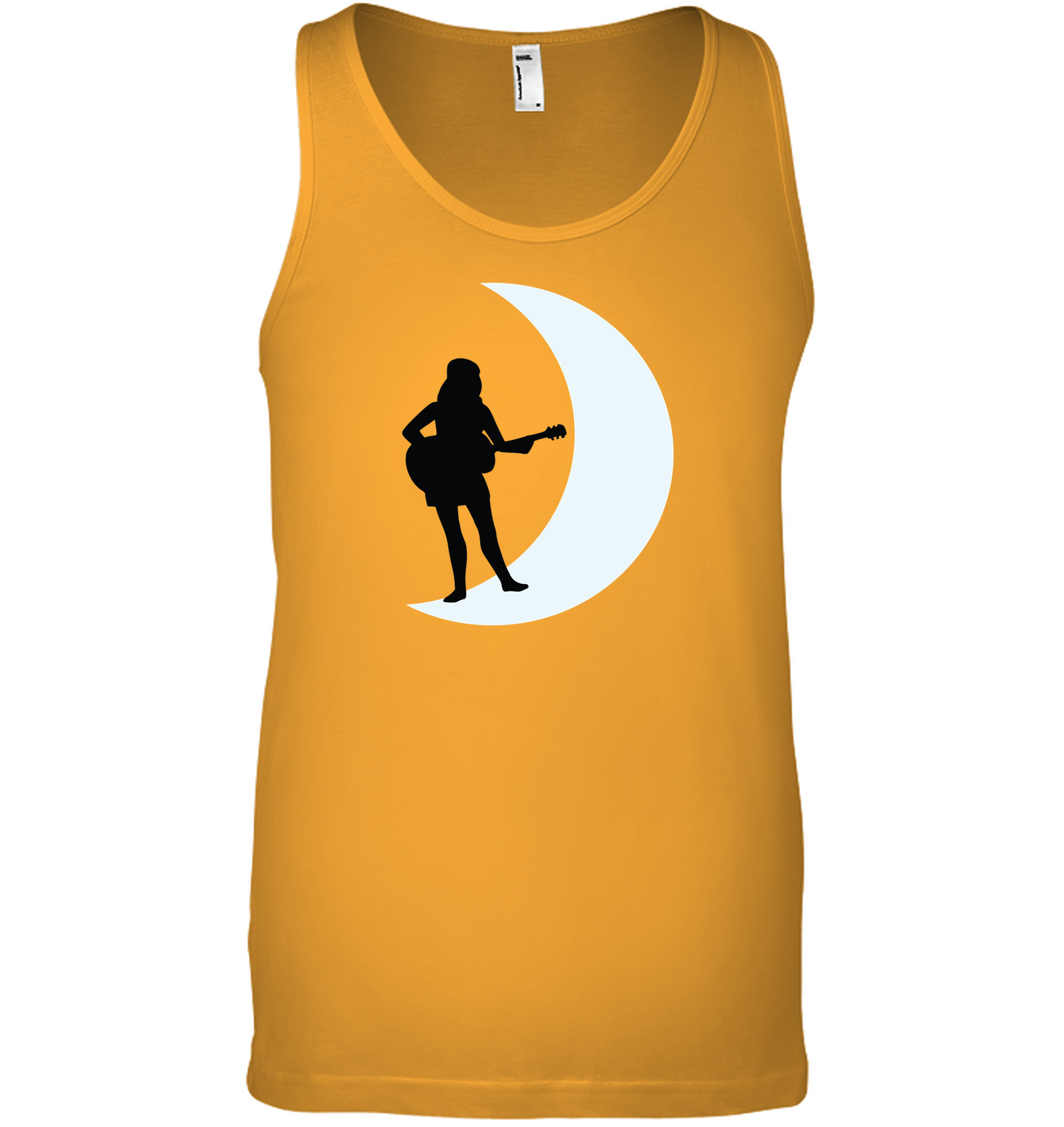 Moonlight Guitar Player White - Bella + Canvas Unisex Jersey Tank