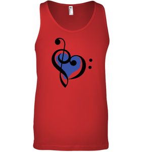 Treble Bass Blue Heart - Bella + Canvas Unisex Jersey Tank