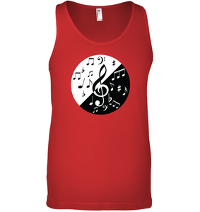 Musical Circle White Black - Bella + Canvas Unisex Jersey Tank