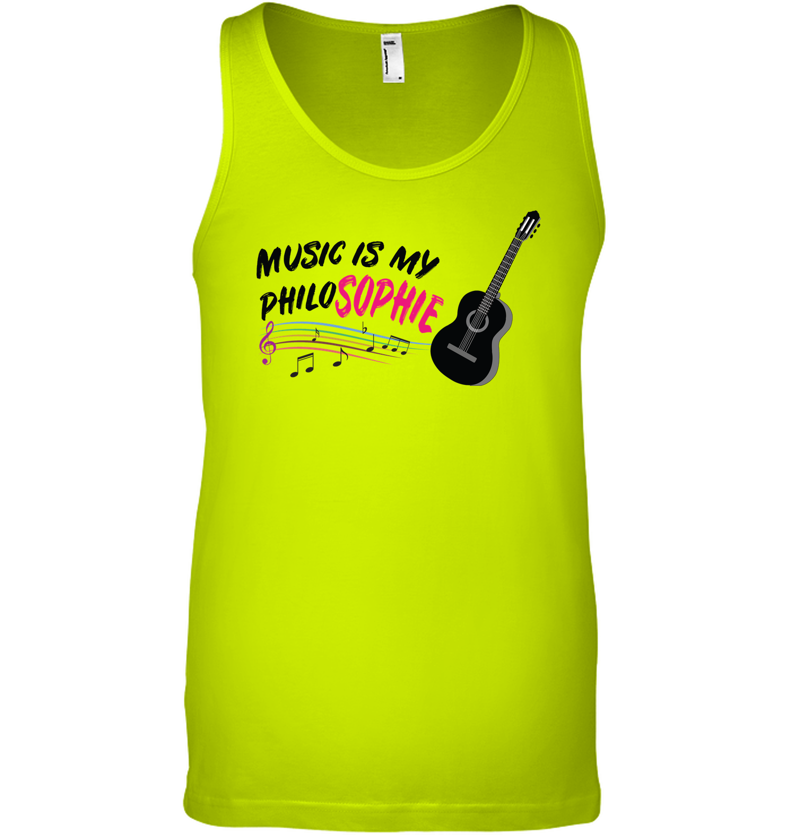 Music is my Philo-Sophie Colorful + Guitar - Bella + Canvas Unisex Jersey Tank