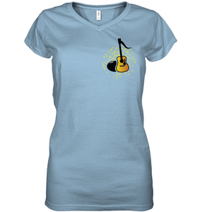 Acoustic Guitar Note (Pocket Size) - Hanes Women's Nano-T® V-Neck T-Shirt
