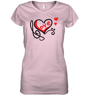 Love Music Heart Red - Hanes Women's Nano-T® V-Neck T-Shirt