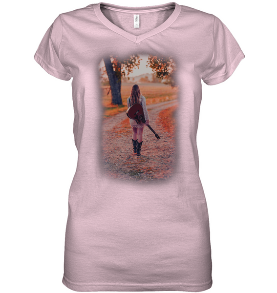 Walking with my Guitar - Hanes Women's Nano-T® V-Neck T-Shirt