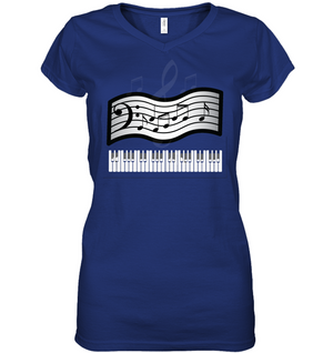Keyboard and Musical Notes - Hanes Women's Nano-T® V-Neck T-Shirt