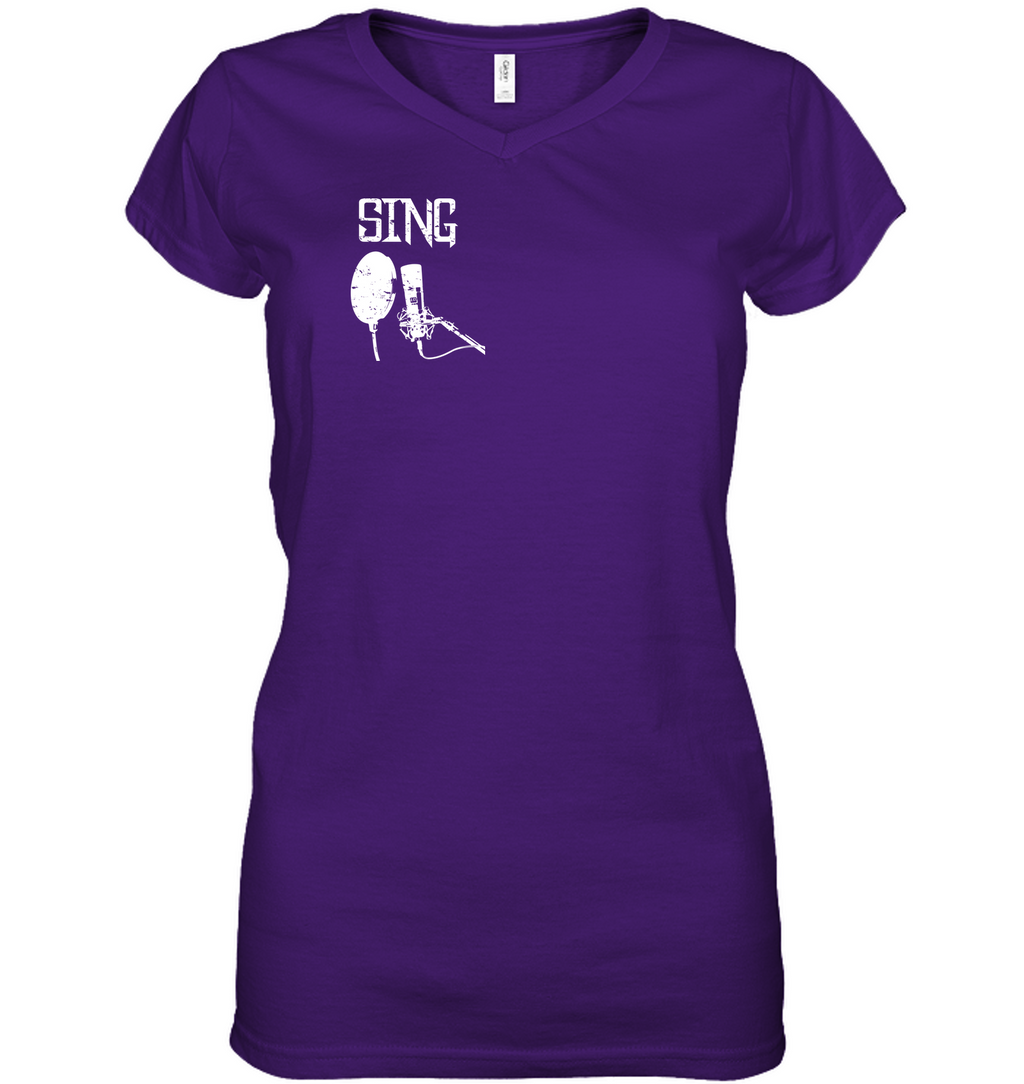 Sing (Pocket Size)- Hanes Women's Nano-T® V-Neck T-Shirt