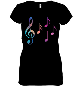 Colorful Notes - Hanes Women's Nano-T® V-Neck T-Shirt