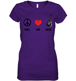 Peace Love Guitar - Hanes Women's Nano-T® V-Neck T-Shirt