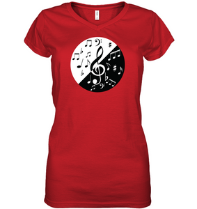 Musical Circle White Black - Hanes Women's Nano-T® V-Neck T-Shirt