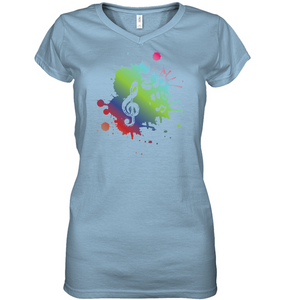 A Colorful Splash of Music - Hanes Women's Nano-T® V-Neck T-Shirt