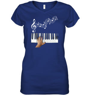 Playin the Keyboard - Hanes Women's Nano-T® V-Neck T-Shirt