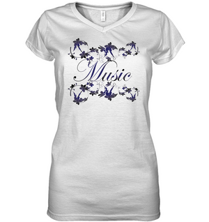 Music with Flowers - Hanes Women's Nano-T® V-Neck T-Shirt